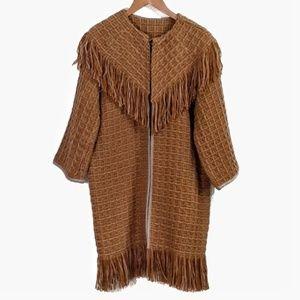 Vintage '70's Wool Knit Fringed Car Coat Mustard